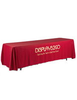 Metallic Lettering 8' Red Table Cover with 3 Full Drape Sides