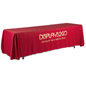 Metallic Lettering 8' Red Table Cover for Trade Shows