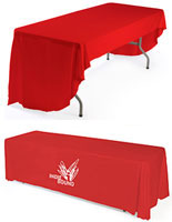 printed table covers include custom logos