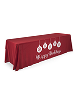 "8' ""Happy Holidays"" imprinted table cloth with pre-printed message"