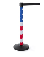 american flag stanchion post wrap for crowd control fixtures