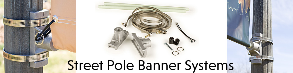Street Pole Brackets for Single or Double Banner Display