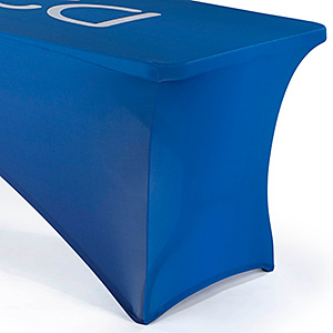 Closeup of a blue spandex table cover on a trade show table