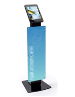 Black floor standing custom Surface Pro stand display