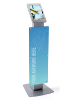 Silver Microsoft Surface Pro floor stand with poster