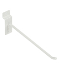 8 Inch White Slatwall Hook with Angled Tip