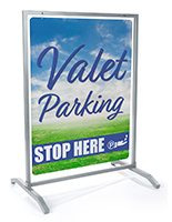 2-Sided 30x40 custom silver sidewalk hanging sign