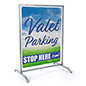 30x40 custom silver sidewalk hanging sign with full-color panel