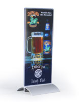 This table sign displays a menu card and helps to boost table top advertising in your restaurant.