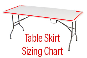 Size Chart for Table Skirting