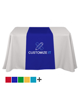 Custom table runners with dye sublimation printing for events and trade shows
