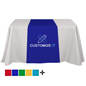 Custom table runners with dye sublimation printing for business or educational events