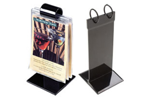 Roll style menu holder flip stand