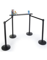 Queue Line Writing Surface with Stanchions and Retractable Belts