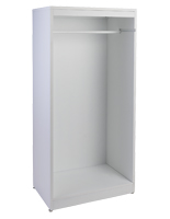 White open retail garment armoire display