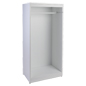 Boutique open retail garment armoire display in white