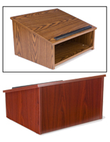 Table Podiums: Medium Oak or Mahogany