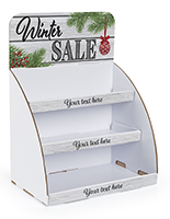 """Winter Sale"" cardboard display shelves with pre-designed header"