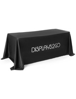 Machine-Washable Branded Black Table Cover