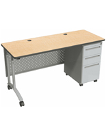 Adjustable Height Office Desk with Locking Drawers