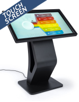 Black electronic touchscreen floor display kiosk directory