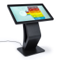 Black indoor electronic touchscreen floor display kiosk with interactive panel