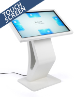 "White touch screen directory floor stand with 43"" interactive LCD panel"