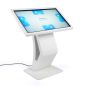 White touch screen directory floor stand kiosk with 8GB internal storage