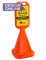 Traffic cone sidewalk sign with reflective substrate graphic