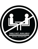 Black social distance table markers for outdoor and indoor tables