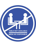 Blue bilingual social distancing table decal for outdoor and indoor environments