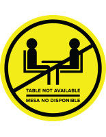 Yellow bilingual social distancing table decal for outdoor and indoor environments