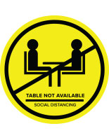 Yellow social distance table markers for outdoor and indoor tables