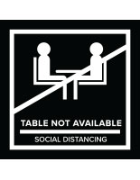 Black temporary no seating table sticker