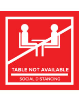 Red temporary no seating table sticker