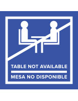 Blue vinyl no seating bilingual table top sticker for safe distance in indoor and outdoor areas