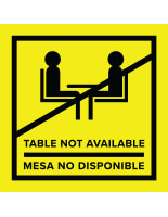 Yellow vinyl no seating bilingual table top sticker for safe distance in indoor and outdoor areas