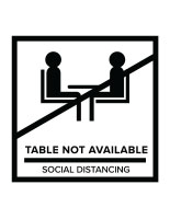 White temporary no seating table sticker