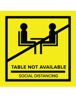 Yellow temporary no seating table sticker