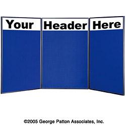 Tabletop Display Board 72 W 3 Blue Panels Custom Headers