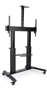 Heavy duty rolling TV stand in black