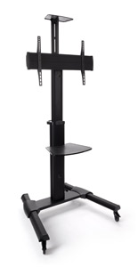 Widescreen monitor stand on wheels with adjustable height
