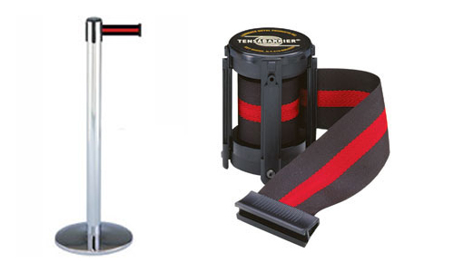 Tensabarrier stanchions with retractable belts