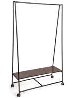 Portable Pipe A-Frame Clothes Rack with Wood Shelf
