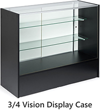 three quarter vision display cabinet