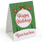 Happy Holidays promotional table tent with green ornament theme