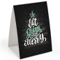 Eat, Drink, Be Merry pub table tent with holiday graphics