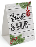 "Promotional ""Winter Sale"" table tent with double-sided design"