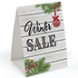 "Promotional ""Winter Sale"" table tent with retail message"