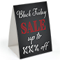 "Promotional ""Black Friday"" table tent with personalized percent text"